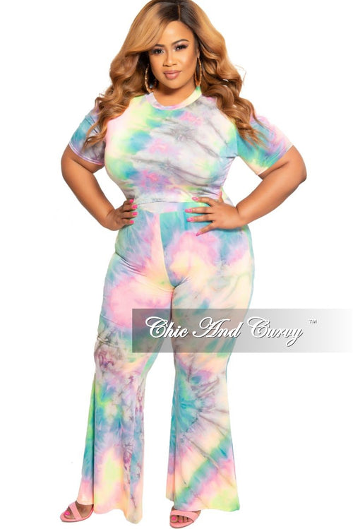 New Plus Size 2-Piece Crop Top and Pants Set in Multi Color Tie Dye Print