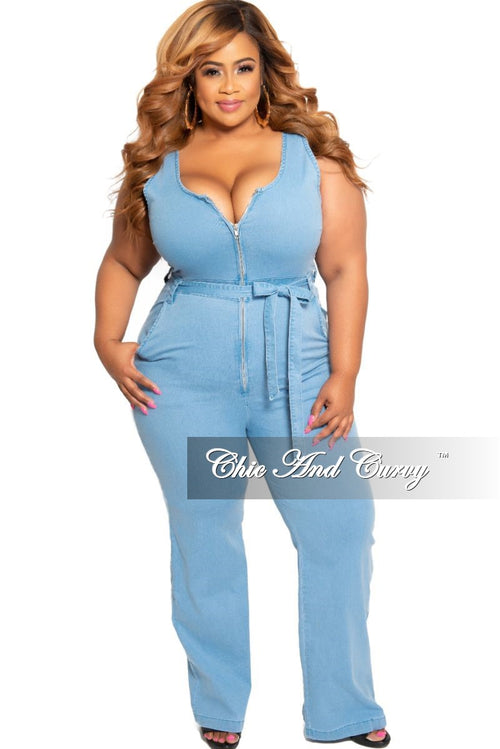 Final Sale Plus Size Sleeveless Zip-Up Jumpsuit with Attached Tie in Light Denim