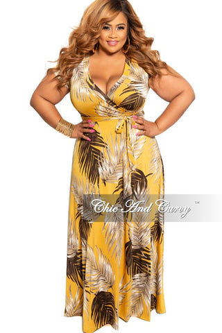 Final Sale Plus Size Ruffle Overlay Pleated Peasant Maxi in Orange and Black Print