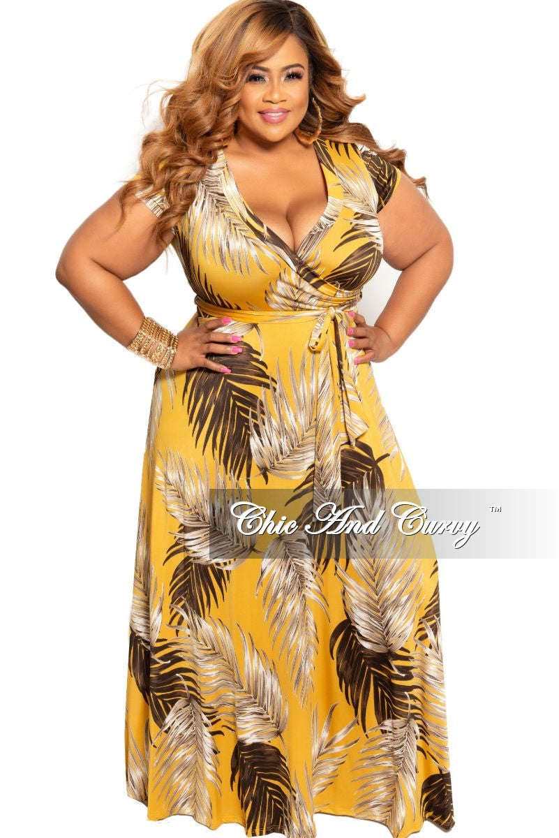 New Plus Size Faux Wrap Maxi Dress in Mustard Leaf Print