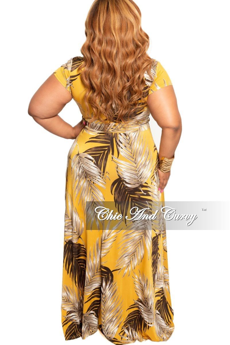 Final Sale Plus Size Faux Wrap Maxi Dress in Mustard Leaf Print