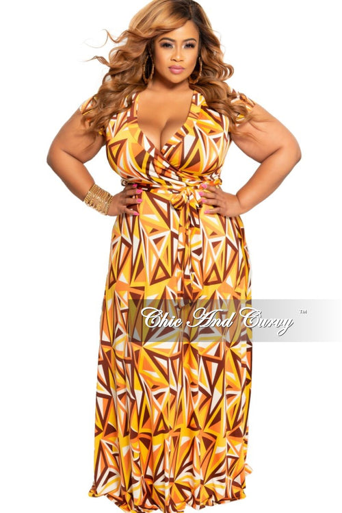 New Plus Size Faux Wrap Maxi Dress in Orange Brown Mustard and White