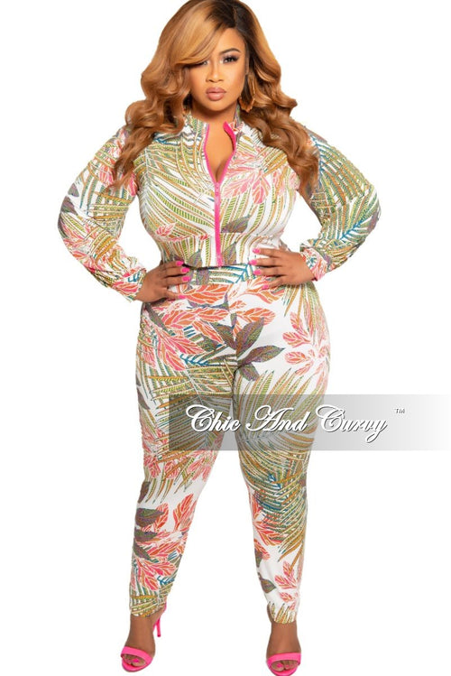 93deb9a30c New Plus Size 2-Piece Zip-Up Jacket and Pants Set in Multi Color