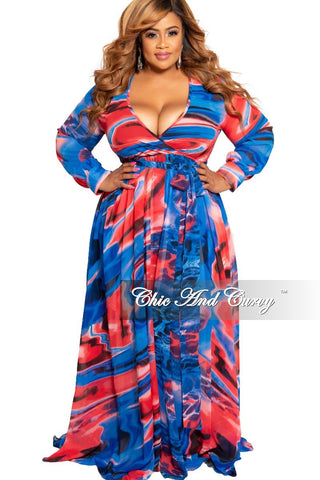 Final Sale Plus Size Faux Wrap Maxi Dress with Double Slits in Green Orange and Navy