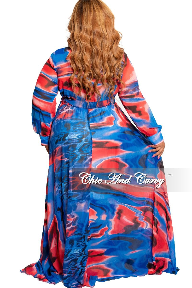 Final Sale Plus Size Chiffon Faux Wrap Maxi in Royal Blue and Red Print
