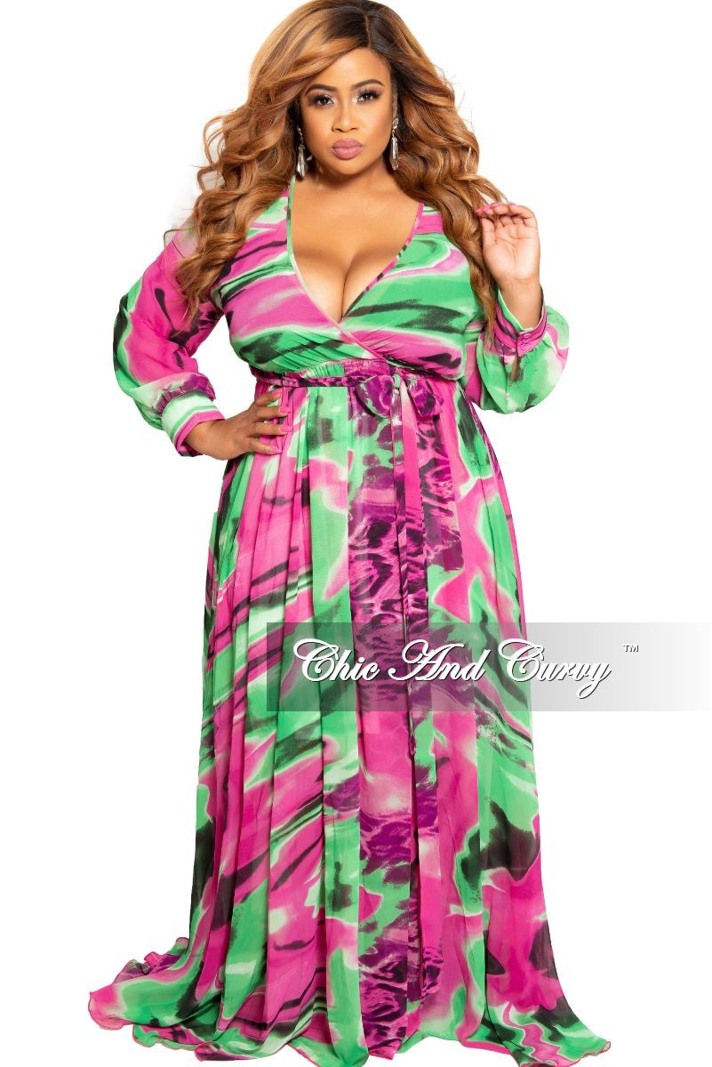 Final Sale Plus Size Chiffon Faux Wrap Maxi in Pink and Green Print