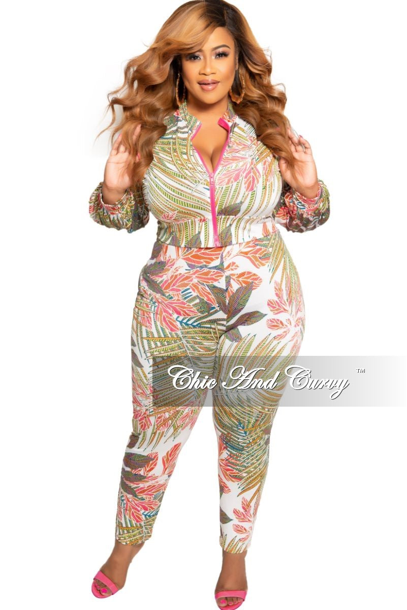 New Plus Size 2-Piece Zip-Up Jacket and Pants Set in Multi Color Tropical Print
