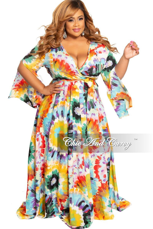 50a826c4eb977 Final Sale Plus Size Chiffon Maxi Dress with Slit Sleeves in Sky Blue Multi  Color Sunflower