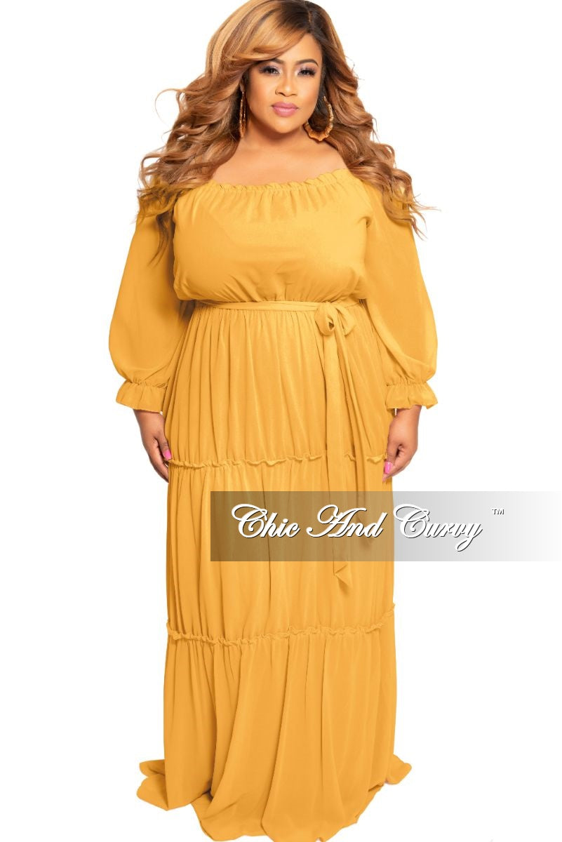 Final Sale Plus Size Off the Shoulder Chiffon Gown with Attached Tie Mustard