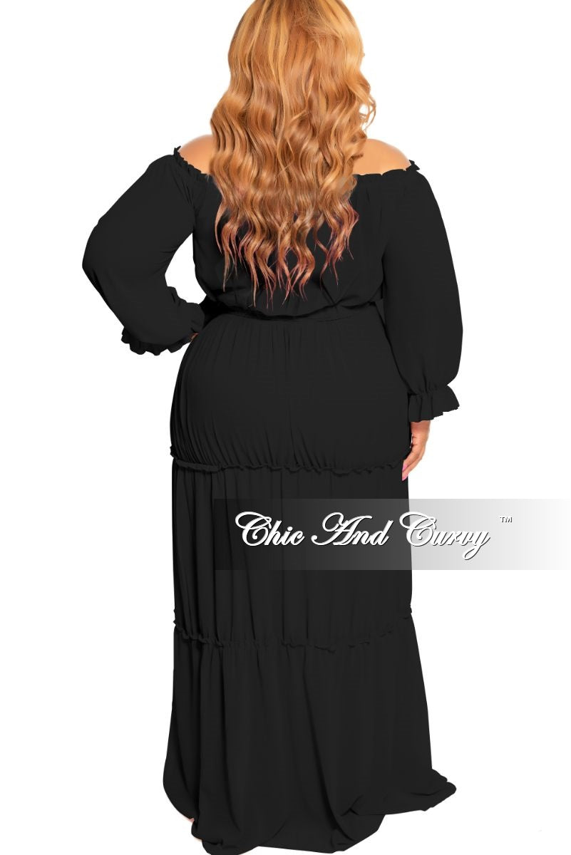 New Plus Size Off the Shoulder Chiffon Gown with Attached Tie Black
