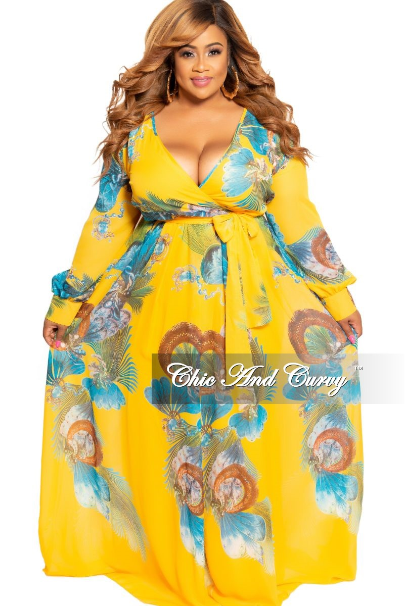 45aa75e6b0c8c Final Sale Plus Size Chiffon Maxi Dress with Slit Sleeves in Mustard F –  Chic And Curvy