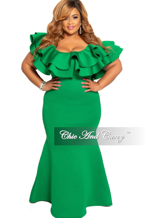 Final Sale Plus Size Spaghetti Strap Ruffle Long Gown in Green