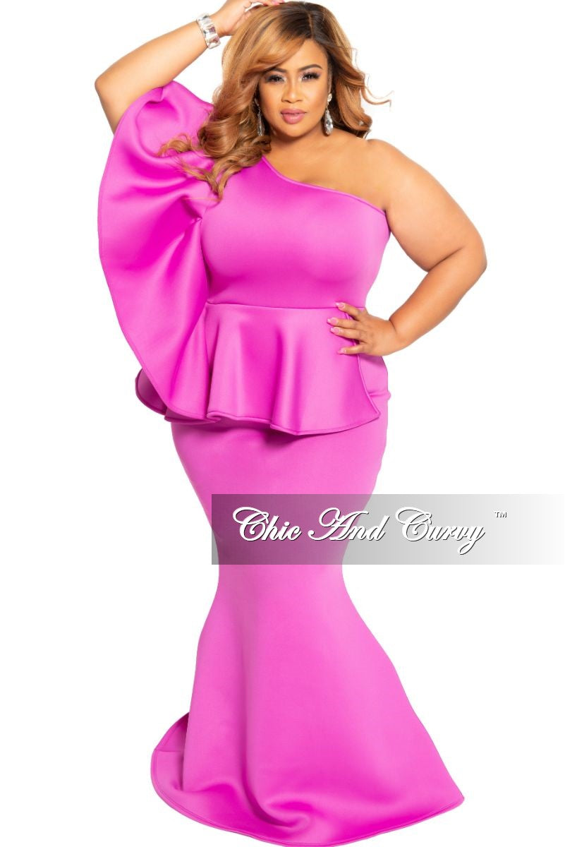 Final Sale Plus Size One Sided Ruffle Peplum Gown in Magenta