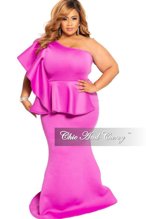 New Plus Size One Sided Ruffle Peplum Gown in Magenta