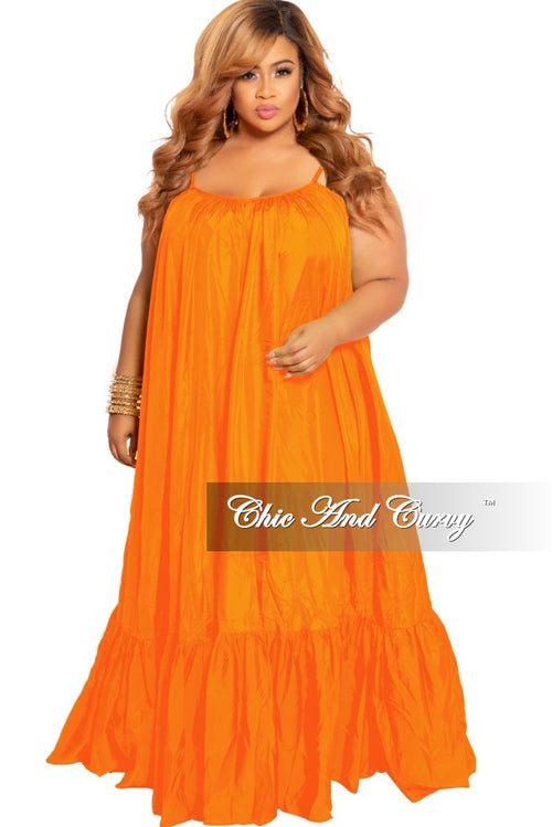Final Sale Plus Size Spaghetti Strap Peasant Maxi in Neon Orange