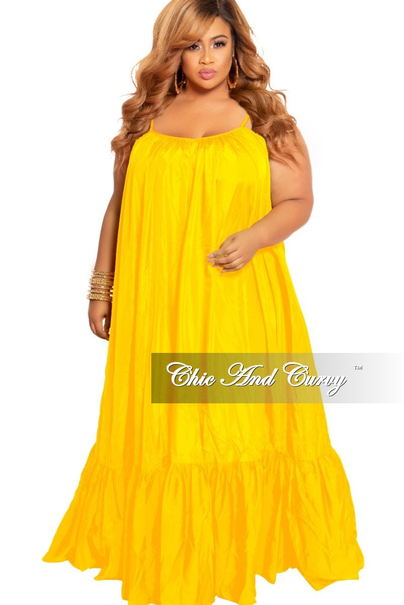 Final Sale Plus Size Spaghetti Strap Peasant Maxi Dress in Yellow Mustard