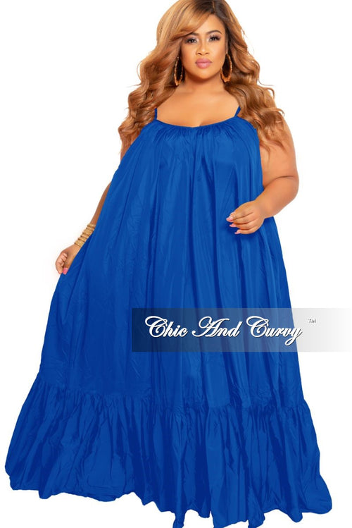 Final Sale Plus Size Spaghetti Strap Peasant Maxi Dress in Royal Blue
