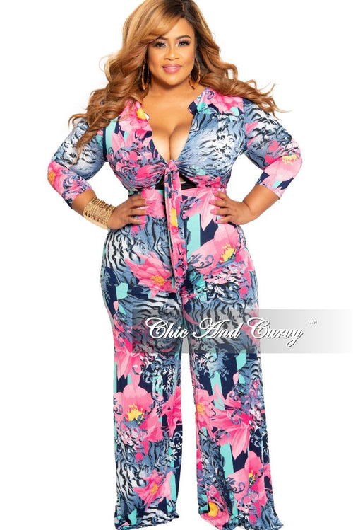New Plus Size Jumpsuit with 3/4 Sleeves and Front Tie in Navy and Magenta Floral Print