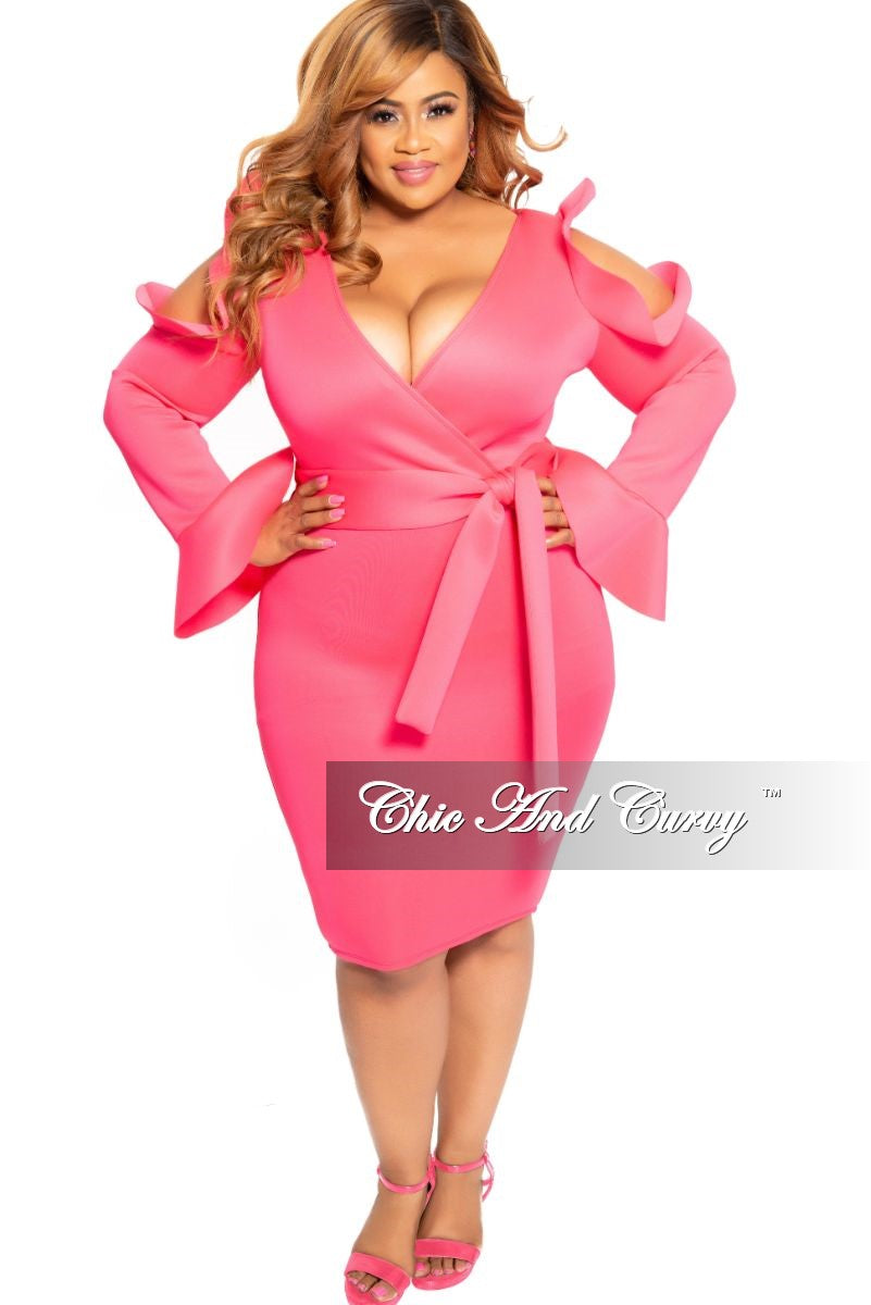 New Plus Size Faux Wrap Cold Shoulder Dress with Attached Tie and Ruffle Trim in Hot Pink