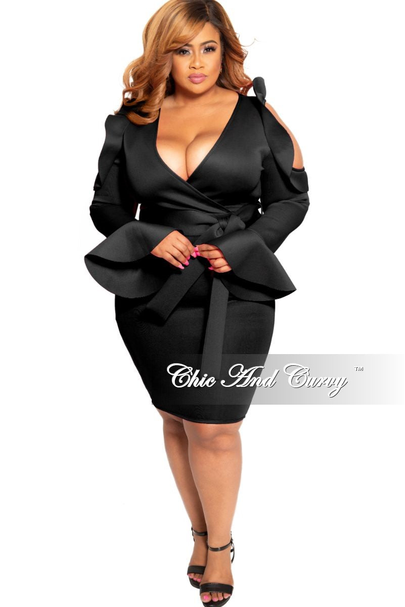 New Plus Size Faux Wrap Cold Shoulder Dress with Attached Tie and Ruffle  Trim in Black