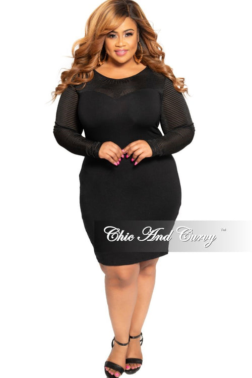 New Plus Size BodyCon Dress with Sweetheart Neck Line and Mesh Trim in Black