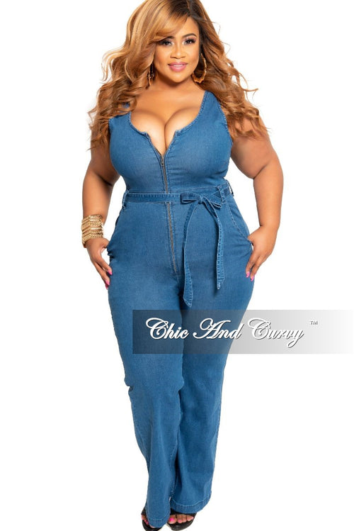 New Plus Size Sleeveless Zip-Up Jumpsuit with Attached Tie in Dark Denim