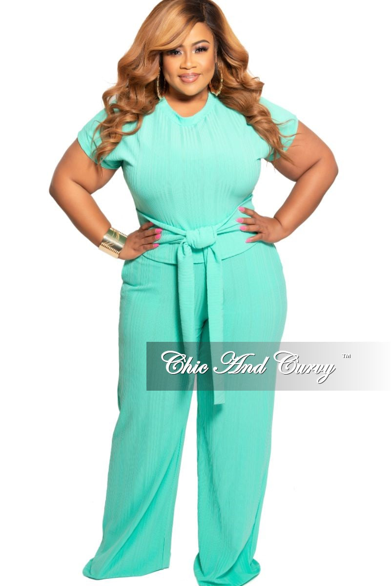 f33415cb1ab0 New Plus Size 2-Piece Ribbed Tie Top and Pants Set in Mint – Chic And Curvy