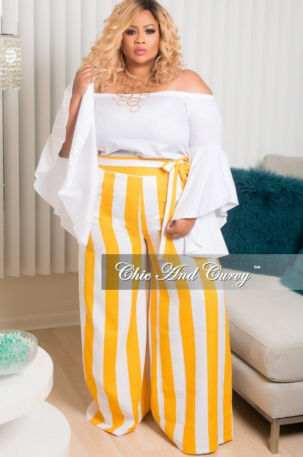 Final Sale Plus Size Wide Leg Stripe Pant with Attached Tie in Mustard and White