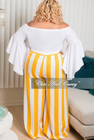 Final Sale Plus Size Off The Shoulder Bell Sleeve Top in White