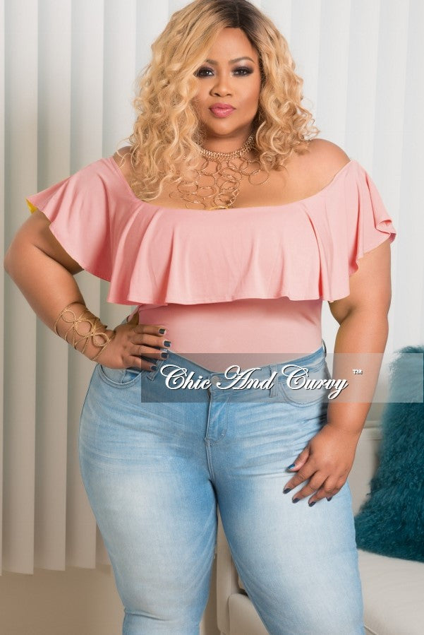 Final Sale Plus Size Off the Shoulder Ruffle Bodysuit in Rose