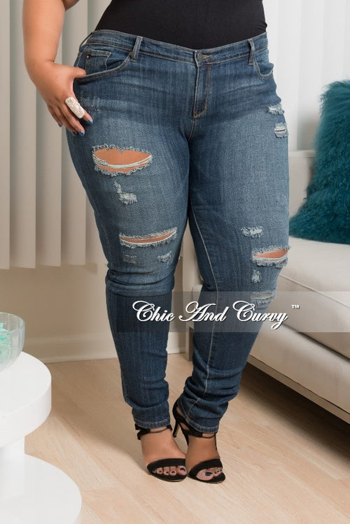 New Plus Size  Denim Jeans Distressed with Holes