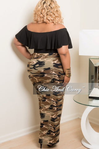 New Plus Size Long Skirt in Camouflage Print