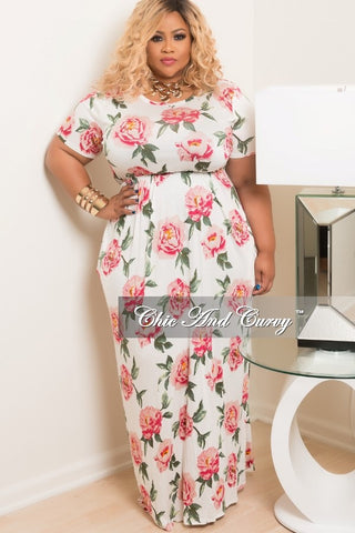 Final Sale Plus Size Short Sleeve Long Floral Dress in White, Pink, Green and Orange