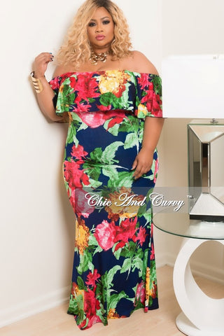 New Plus Size BodyCon Long Dress with Off the Shoulder Ruffle in Navy, Pink, Green, Yellow and Red