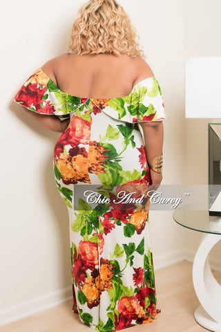 New Plus Size BodyCon Long Dress with Off the Shoulder Ruffle in Off White, Green, Yellow and Red