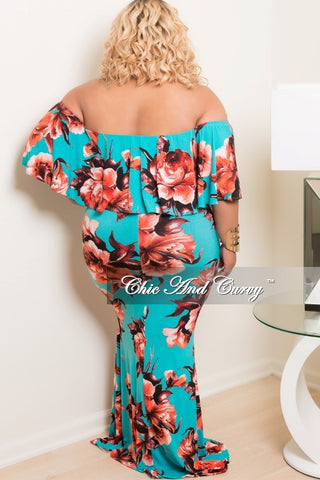 New Plus Size BodyCon Long Dress with Off the Shoulder Ruffle in Teal, Red and Black