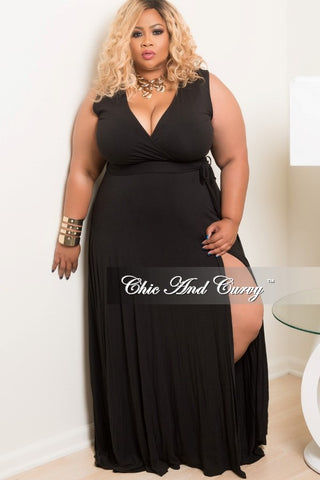 New Plus Size Long Sleeveless Wrap Dress w/ Tie in Black