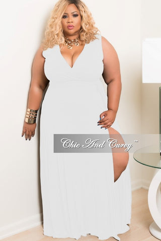 Final Sale Plus Size Long Sleeveless Dress With Front Slit in White