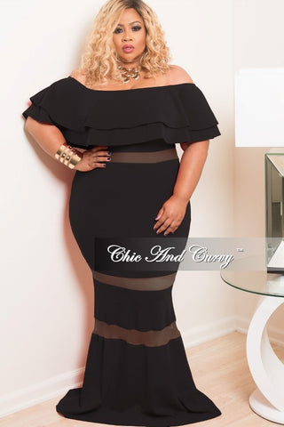 New Plus Size BodyCon Long Mesh Dress with Off the Shoulder Ruffle in Black