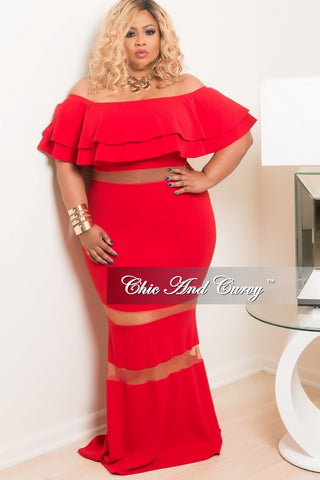 New Plus Size BodyCon Long Mesh Dress with Off the Shoulder Ruffle in Red