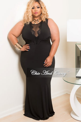 New Plus Size Sleeveless BodyCon Long Dress in Black