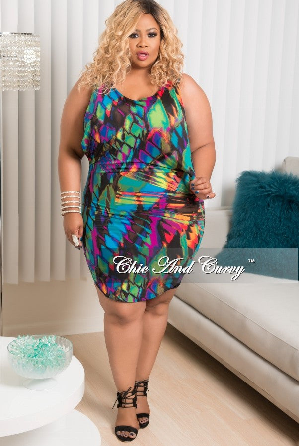 New Plus Size Sleeveless Dress/Top in Purple, Royal Blue, Green, Orange and Red