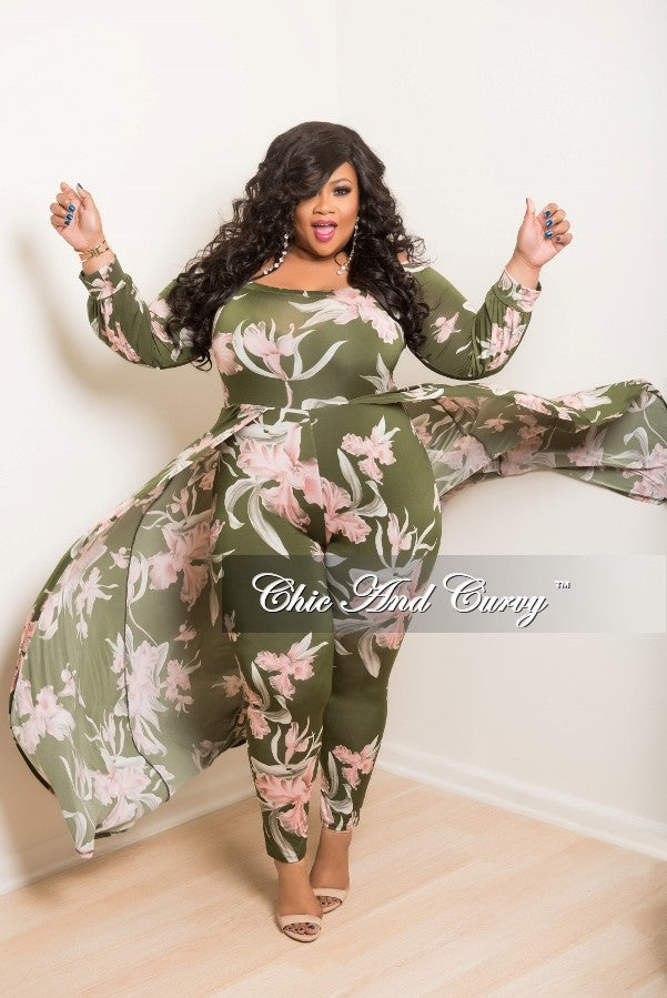 New Plus Size Off the Shoulder Jumpsuit with Attached Long Skirt in Green and Pink