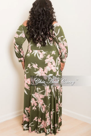 New Plus Size Jumpsuit with Attached Long Skirt in Green and Pink