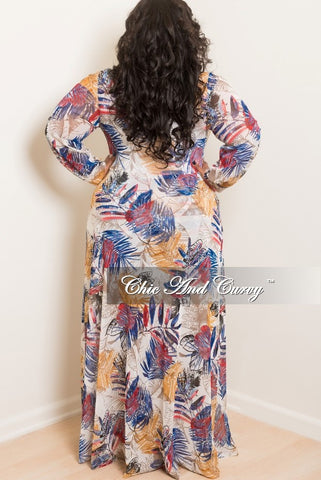 New Plus Size Printed Mesh Jumpsuit with Attached Long Skirt in Off White, Blue and Red
