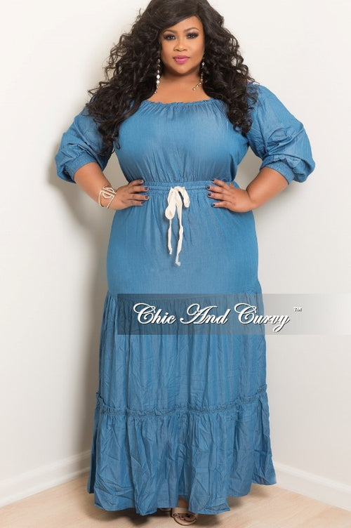 Final Sale  Plus Size Long Off the Shoulder Peasant Dress with Tie in Denim