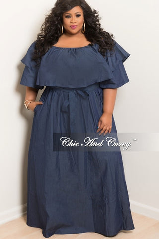 New Plus Size Off the Shoulder Ruffle Dress with Attached Tie in Denim