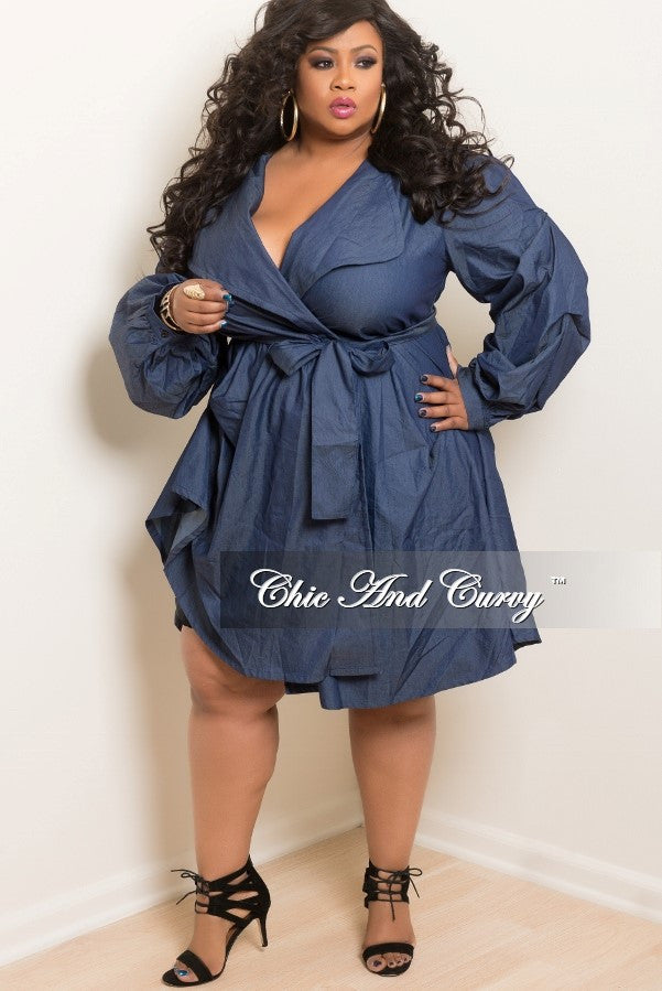 Final Sale Plus Size Puffy Sleeve Dresscoat With Attached Tie In