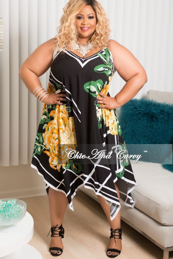 Final Sale Plus Size Spaghetti Strap Handkerchief Dress in Black. White, Green Yellow and Orange