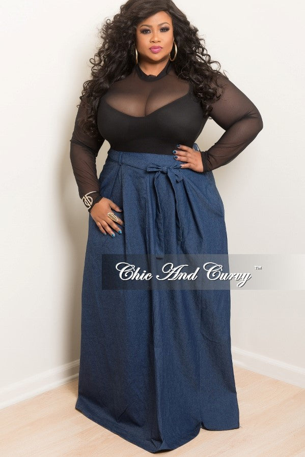 50% off sale - final sale plus size long skirt with attached tie